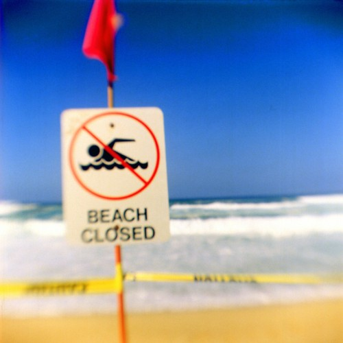 Beach closed, North Shore, O'ahu. fBHF on expired Ektachrome.